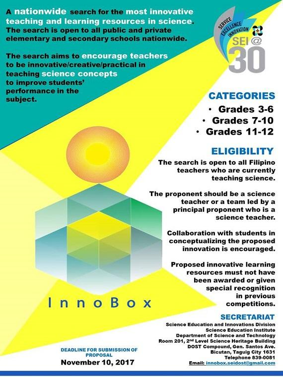 dost, department of science and technology, innobox